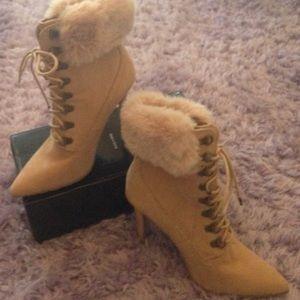 Faux fur high heel boots Never worn!
